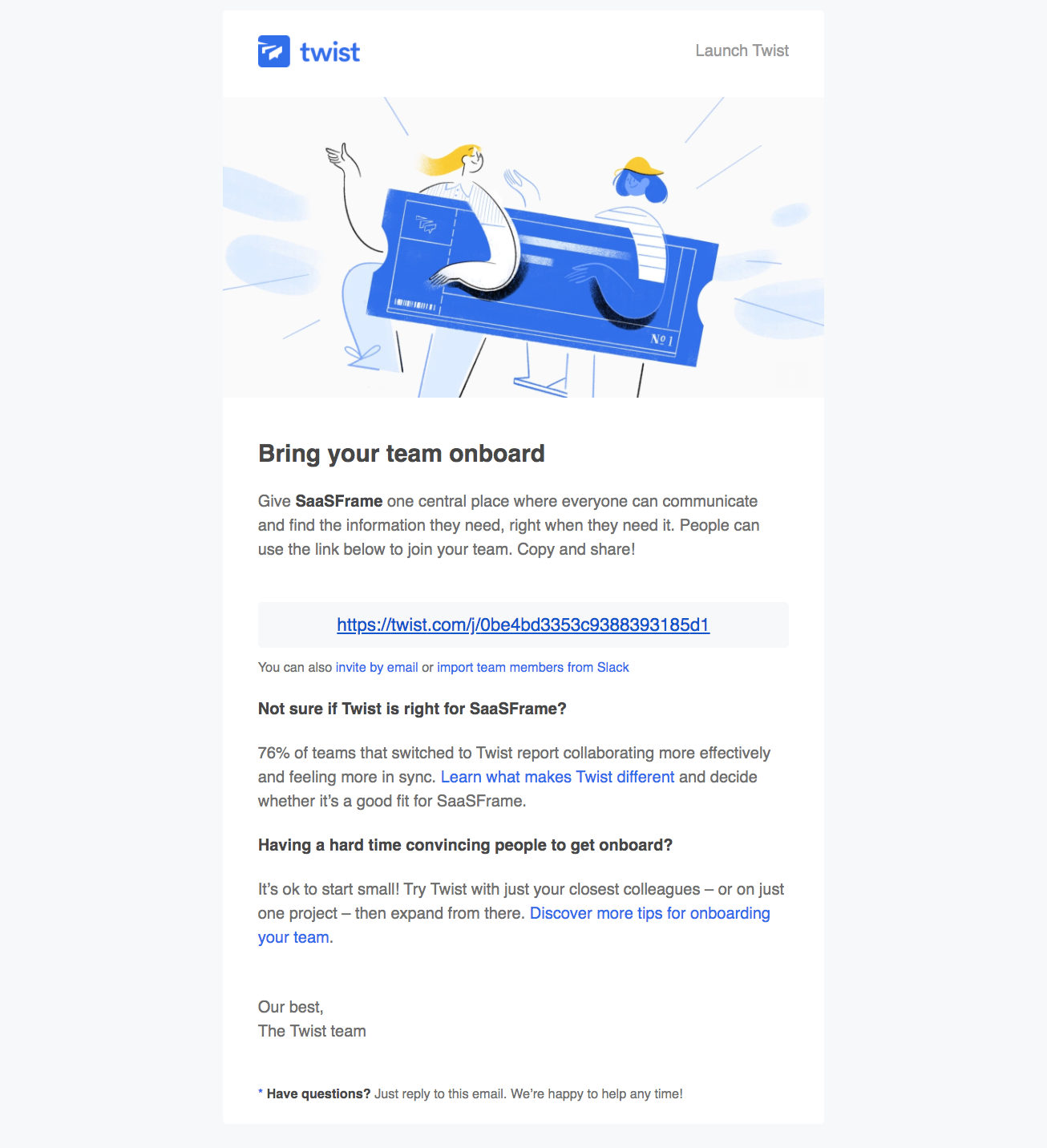 "Twist ""invite your team"" email"
