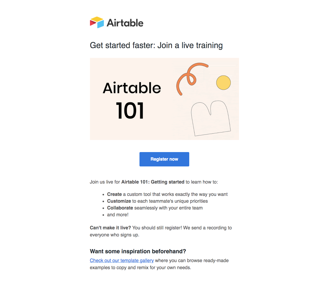 Airtable Onboarding Webinar Email